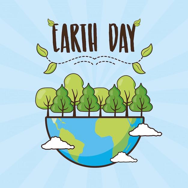 День земли, планета с лесом, иллюстрация Бесплатные векторы