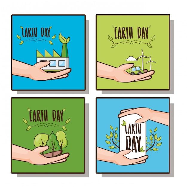 幸せな地球のかわいい、植物と地球の日のアイコン、イラストと手のセット 無料ベクター