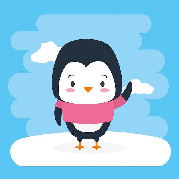 Пингвин милое животное, мультфильм и плоский стиль, иллюстрация Бесплатные векторы