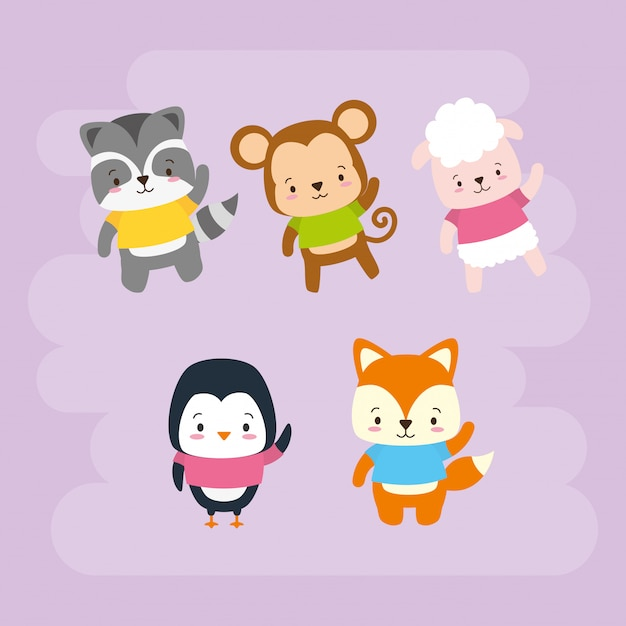 Набор милых животных, мультяшный и плоский стиль, иллюстрация Бесплатные векторы