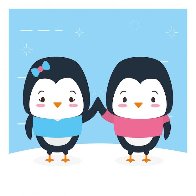 Пара пингвинов, милые животные, мультфильм и плоский стиль, иллюстрация Бесплатные векторы