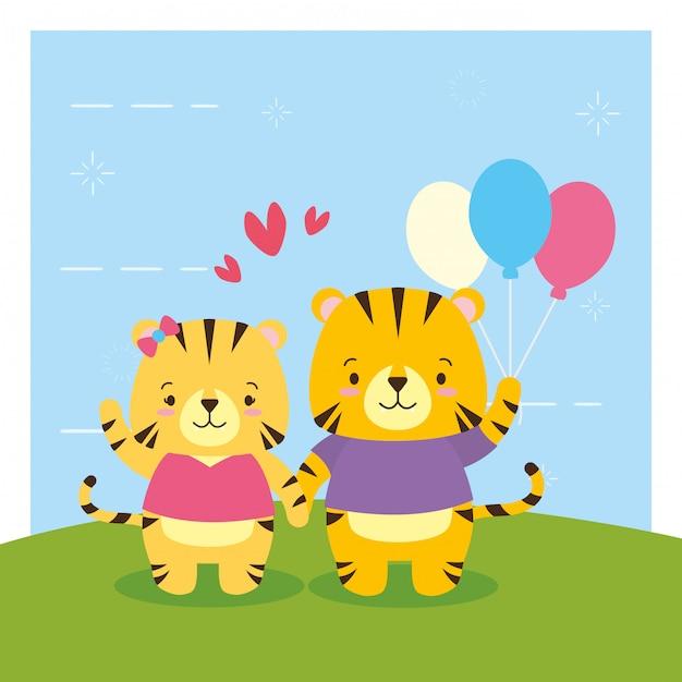 Тигр с воздушными шарами, милый мультфильм животных и плоский стиль, иллюстрация Бесплатные векторы