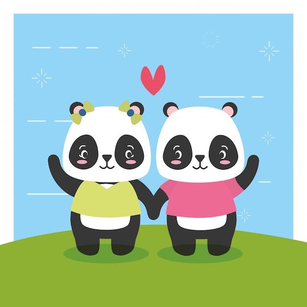 パンダのカップル、かわいい動物、フラット、漫画スタイル、イラスト 無料ベクター