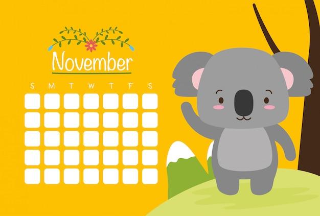 カレンダー、かわいい動物、フラット、漫画スタイル、イラストとコアラ 無料ベクター