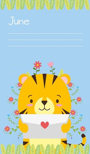 Карточка тигра, милый мультфильм животных и плоский стиль, иллюстрация Бесплатные векторы