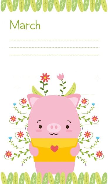 Поросенок с любовным письмом, милый календарь животных, иллюстрация Бесплатные векторы