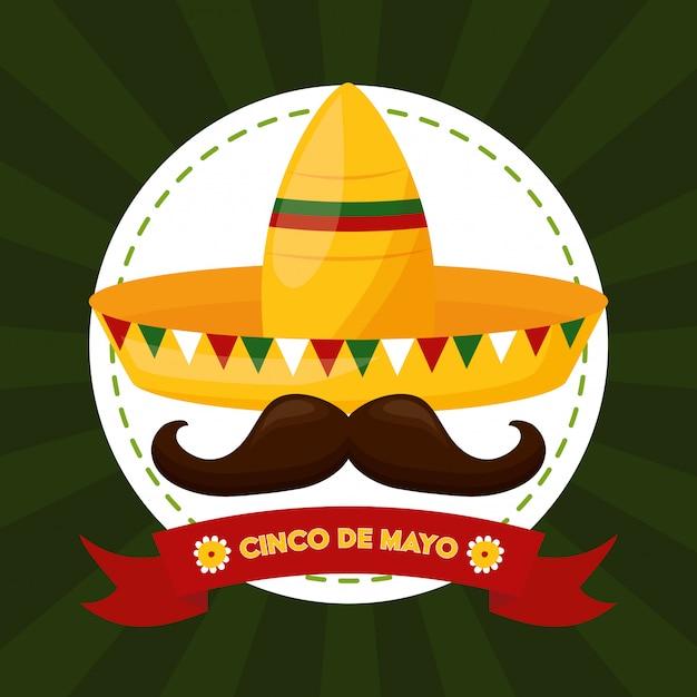 メキシコ料理と口ひげ、シンコデマヨ、メキシコの図 無料ベクター