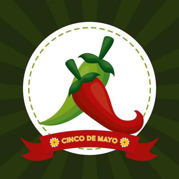 Перец чили, синко де майо, мексика иллюстрации Бесплатные векторы