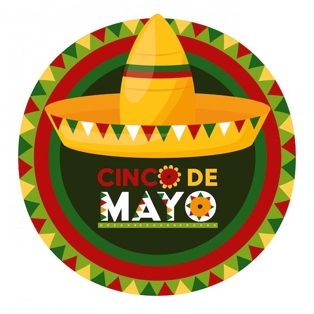 Метка мексиканской шляпы, синко де майо, мексика иллюстрация Бесплатные векторы