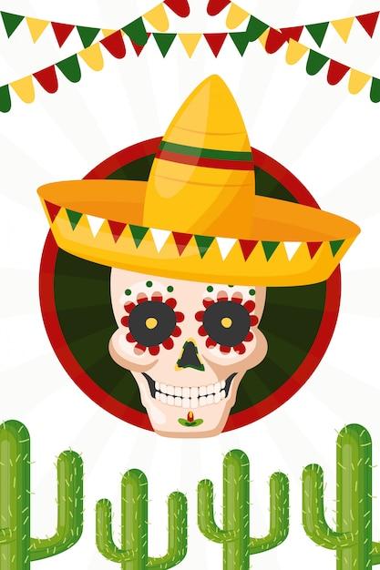 メキシコ文化の頭蓋骨、シンコデマヨ、メキシコの図 無料ベクター