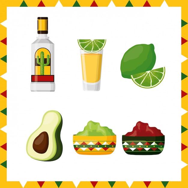メキシコ文化、アボカド、レモン、テキーラ、ワカモレ、イラストのアイコンのセット 無料ベクター