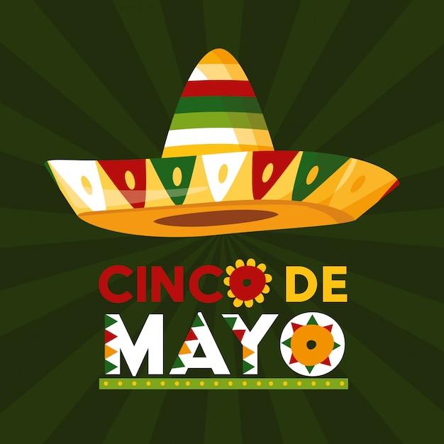 Синко де майо карта, мексиканская шляпа, иллюстрация Бесплатные векторы
