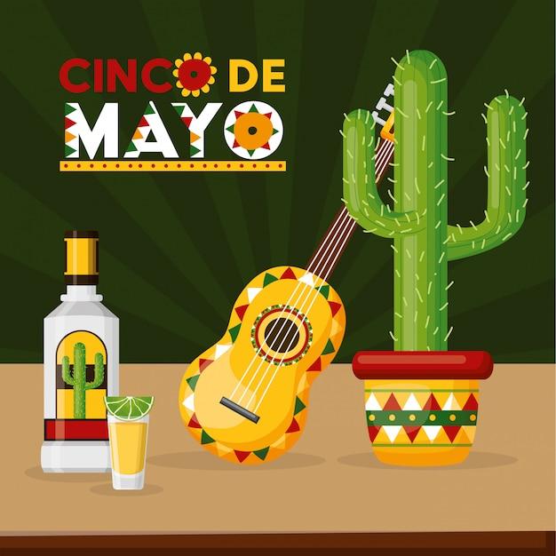 メキシコのサボテンとお祝いの飲み物と音楽 無料ベクター