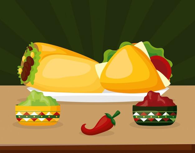 Мексиканская еда с перцем чили, авокадо и тако на зеленом Бесплатные векторы
