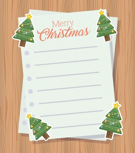 クリスマスツリーとメリークリスマスの手紙 無料ベクター