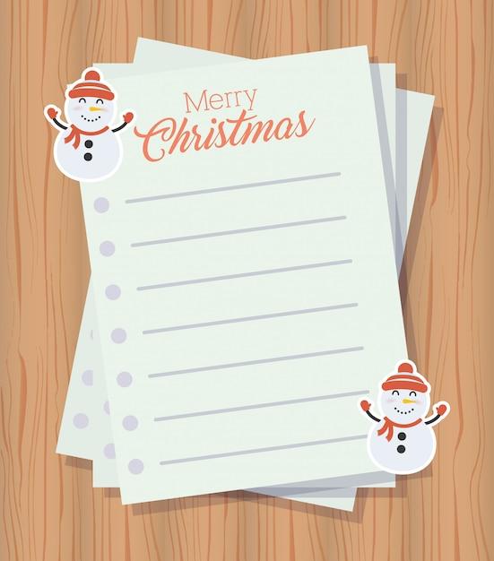 レターシートとメリークリスマスの背景 無料ベクター