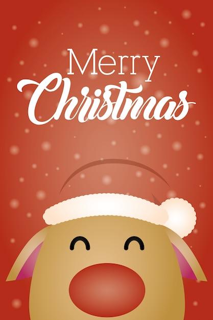 かわいいトナカイのキャラクターとメリークリスマスの背景 無料ベクター