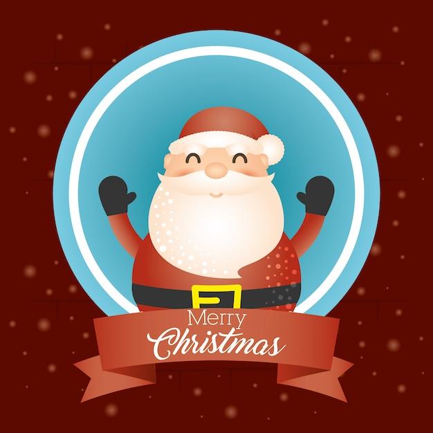 サンタクロースとメリークリスマスの背景 無料ベクター