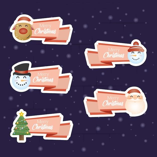 文字のセットとメリークリスマスの背景 無料ベクター