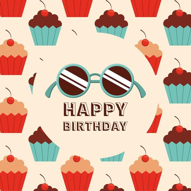 お誕生日おめでとうデザイン 無料ベクター