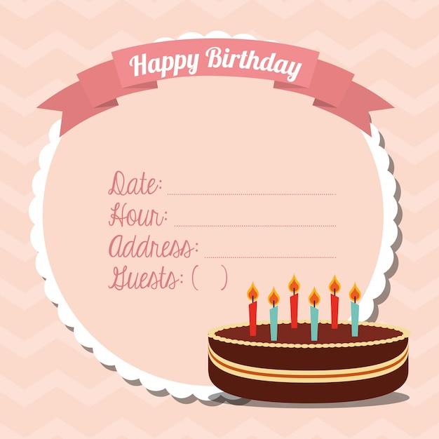 お誕生日おめでとうカード 無料ベクター