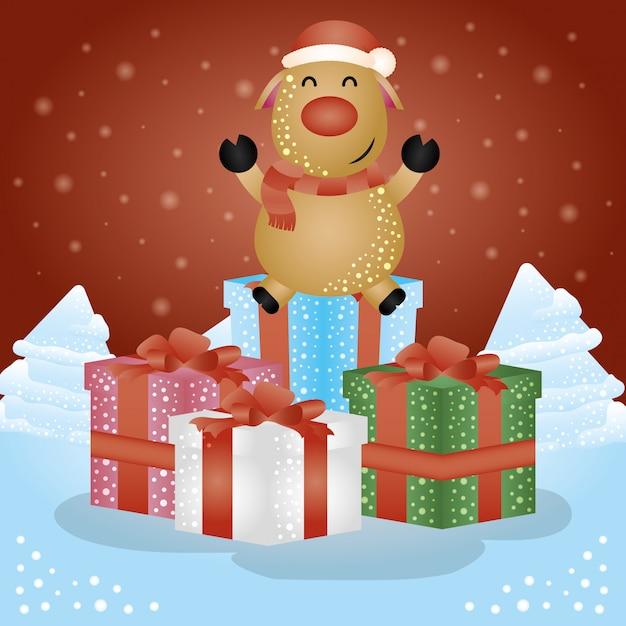 ギフトとトナカイのメリークリスマスシーン Premiumベクター