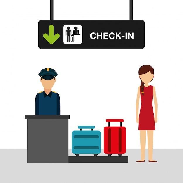 空港の概念図、空港チェックインターミナルの女性 無料ベクター