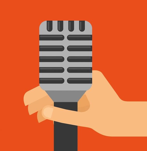 Иллюстрация звука микрофона Бесплатные векторы