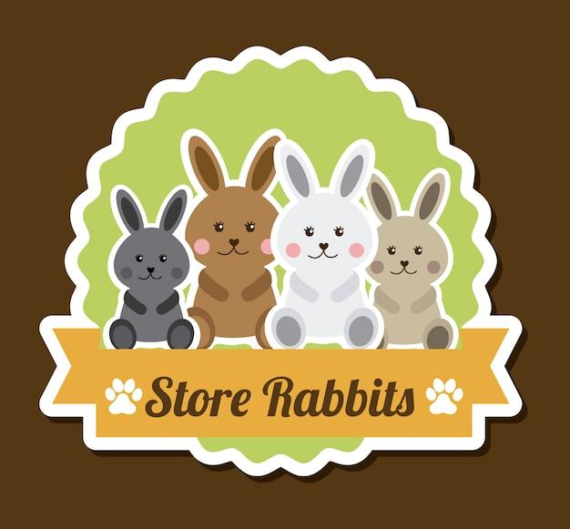 Детский дизайн над коричневым, кролик стикер Бесплатные векторы