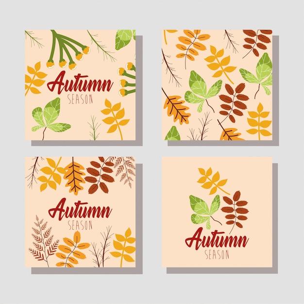 こんにちは秋のカードの束 無料ベクター
