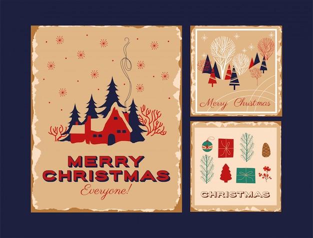 ハッピーメリークリスマスカードの束 無料ベクター