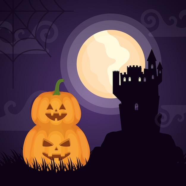 Хэллоуин темный замок с тыквами Бесплатные векторы