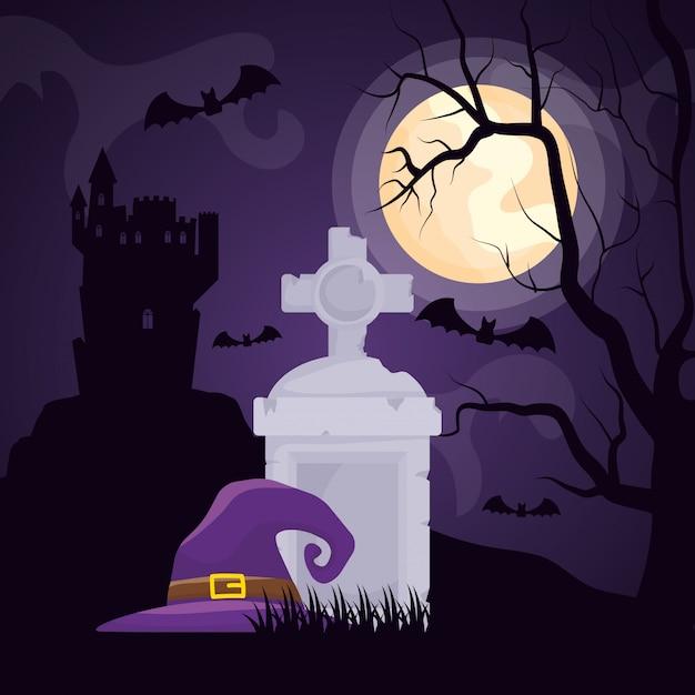 魔女の帽子とハロウィーンの暗い墓地 無料ベクター