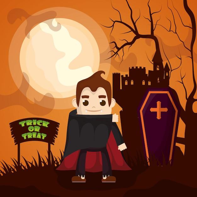 ドラキュラのキャラクターとハロウィーンの暗い城 無料ベクター