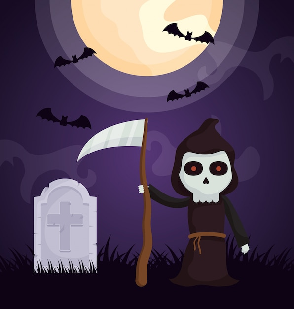 死のキャラクターとハロウィーンの暗い墓地 無料ベクター