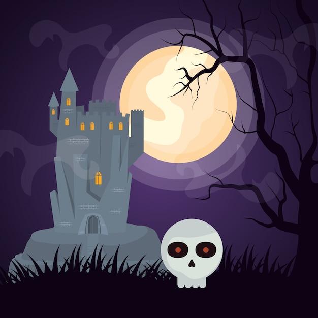 Хэллоуин темный замок с головой черепа Бесплатные векторы