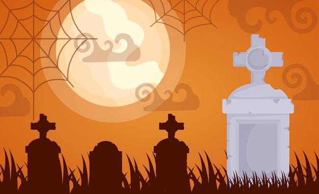 ハロウィーンの暗い墓地 無料ベクター