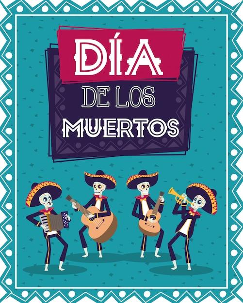 Диа-де-лос-муэртос карта с черепами мариачи, играющими на инструментах Premium векторы
