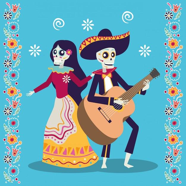 Диа де лос муертос карта с мариачи, играющей на гитаре и катриной Premium векторы