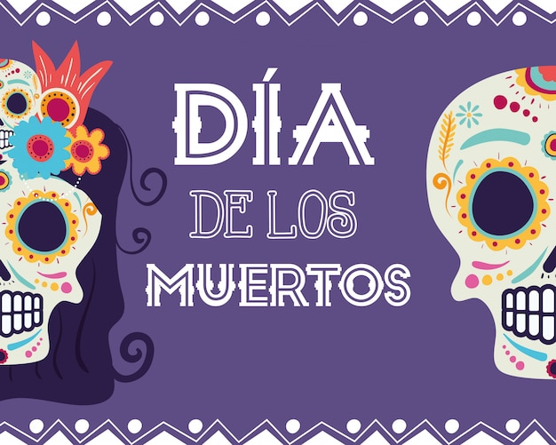 Диа-де-лос-муэртос карта с катринами и черепами Premium векторы