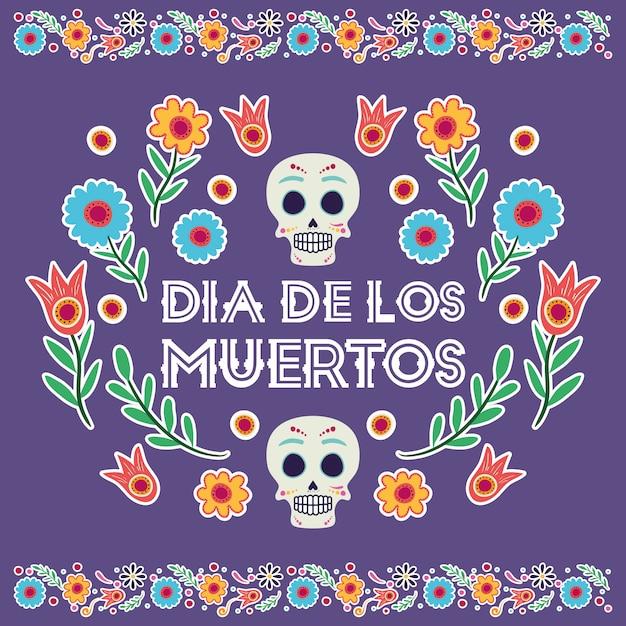 Диа-де-лос-муэртос карта с черепами масками и цветами Premium векторы