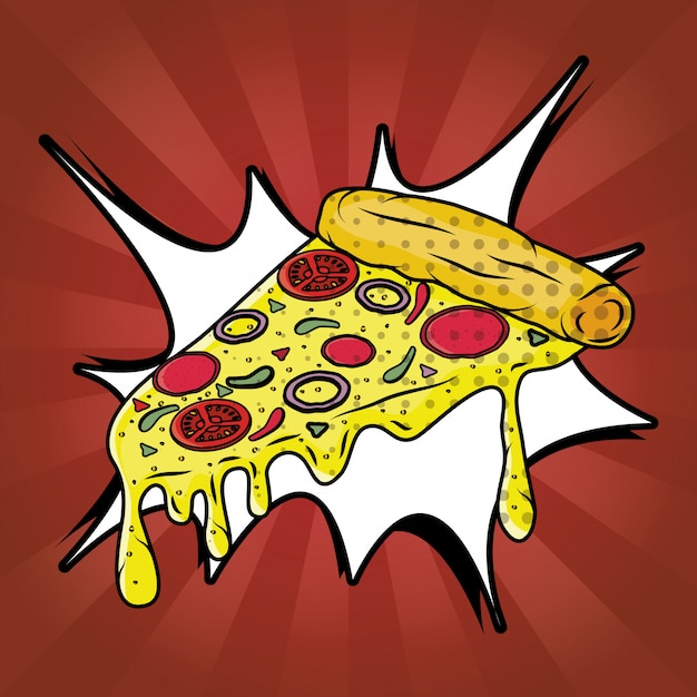 Пицца фаст фуд в стиле поп арт Бесплатные векторы