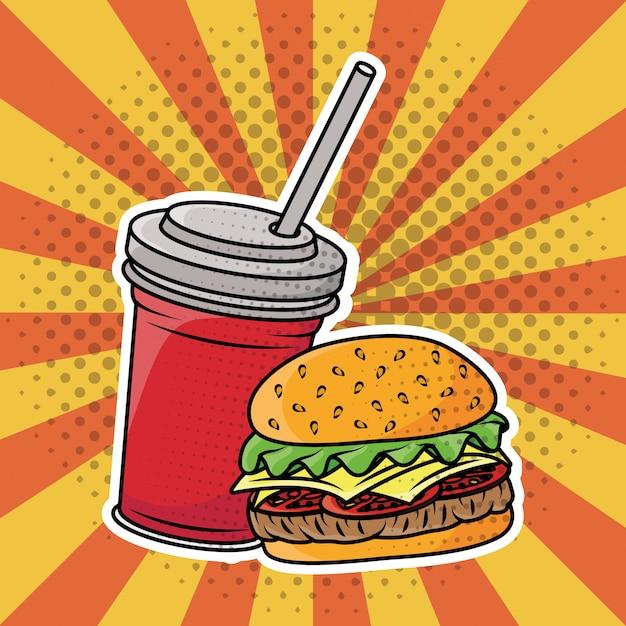 Гамбургер и газированная вода в стиле поп-арт Бесплатные векторы