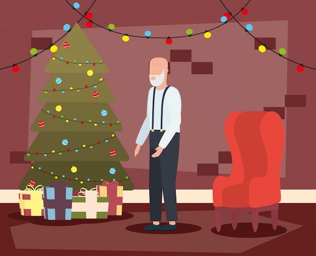 Дед в гостиной с рождественские украшения Бесплатные векторы