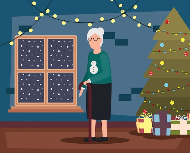 Бабушка в гостиной с рождественские украшения Бесплатные векторы
