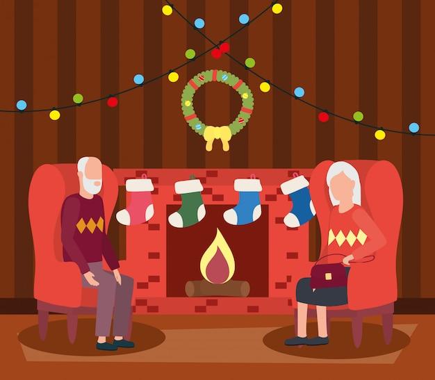 Пара бабушек и дедушек в гостиной с рождественские украшения Бесплатные векторы