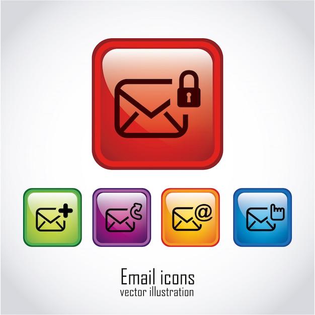 Электронная почта над белой иллюстрацией Бесплатные векторы
