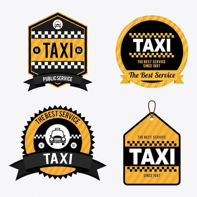 白のイラスト上のタクシー 無料ベクター