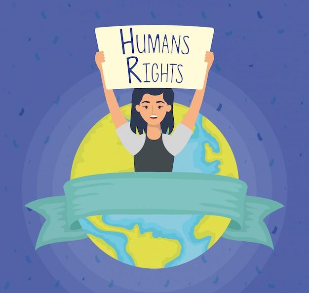 Молодая женщина с лейблом прав человека и планеты земля векторная иллюстрация дизайн Бесплатные векторы