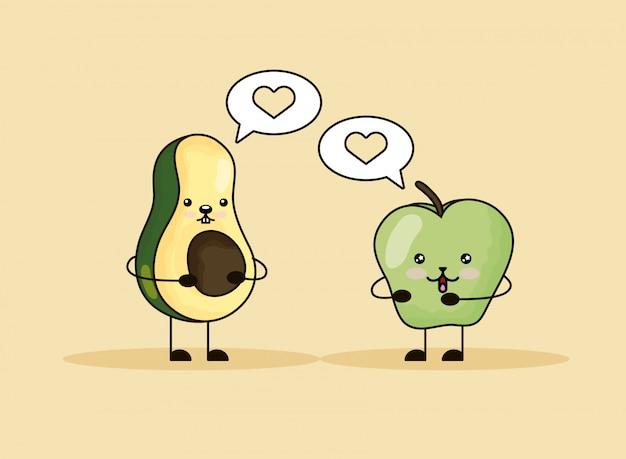 Яблоко и авокадо говорят каваи Premium векторы